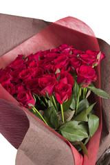 赤いバラの花束 アップ