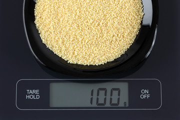 Couscous on kitchen scale