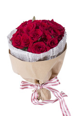 赤いバラの花束 ニュースペーパー