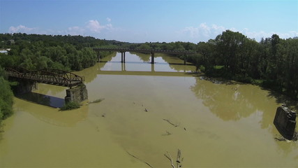 River landscape with  destroyed bridge. Aerial shot