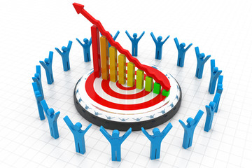 3d business people with financial graph.