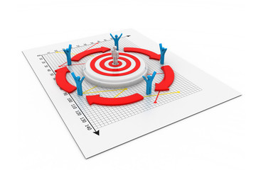 3d business man or figure standing on target.