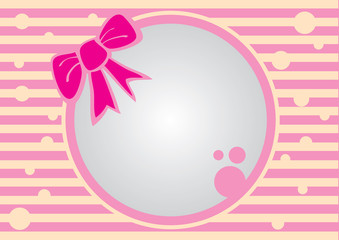 Pink Ribbon Round Frame with Stripe Background