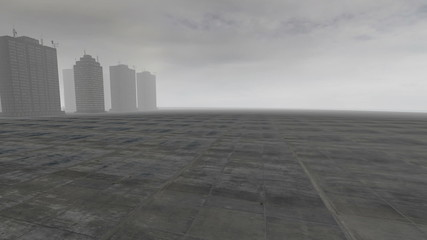 Skyscrapers over cement island with gray fog at cloudy day