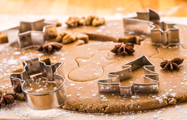 Baking Christmas gingerbread. Shallow depth of field.