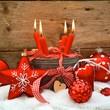 Weihnachtskarte - Adventskerzen rot