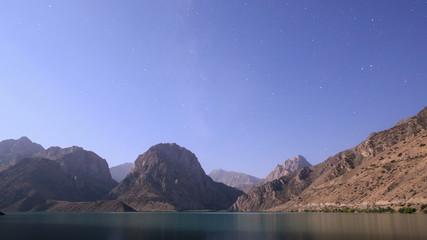 Night on the lake. Tajikistan, Iskander-Kul. TimeLapse