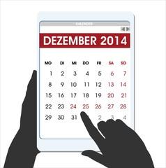 Weihnachten countdown Hände digitalen Table-Kalender