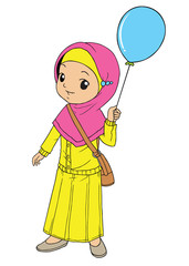 Muslim indonesian girl holding a blue balloon