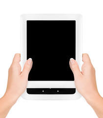 Electronic book isolated in a hand on the white backgrounds
