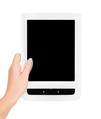 Holding E-book reader in hands. Include clipping path for screen