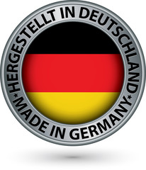 Made in Germany silver label with flag, vector illustration
