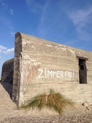 bunker with funny grafitti