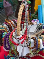 necklace made of various colorful fabrics