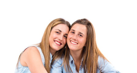 Friends over isolated white background
