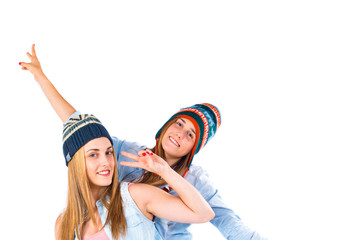 Friends with hats over white background