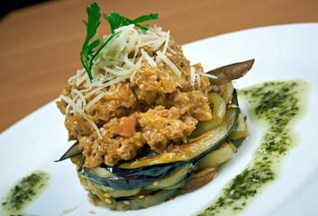 Salad with beef and eggplant