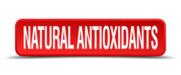 natural antioxidants red 3d square button isolated on white