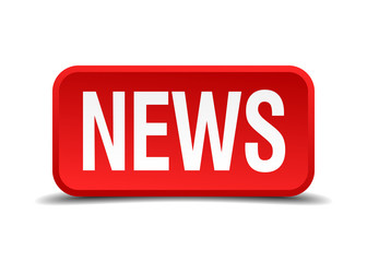 News red 3d square button isolated on white