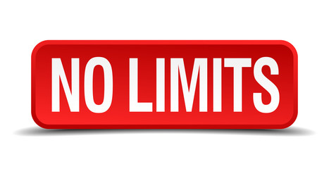 No limits red 3d square button isolated on white