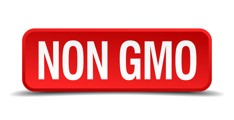 Non gmo red 3d square button isolated on white