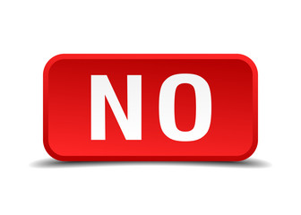 No red 3d square button isolated on white