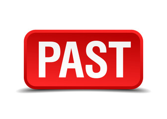 Past red 3d square button isolated on white