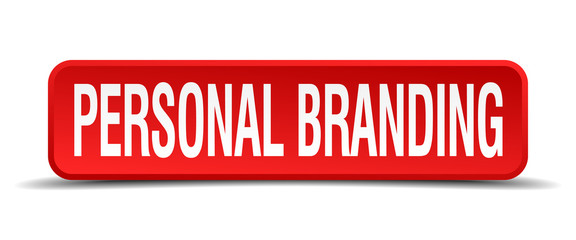 personal branding red 3d square button isolated on white