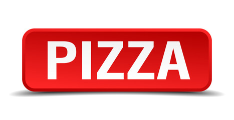 Pizza red 3d square button isolated on white