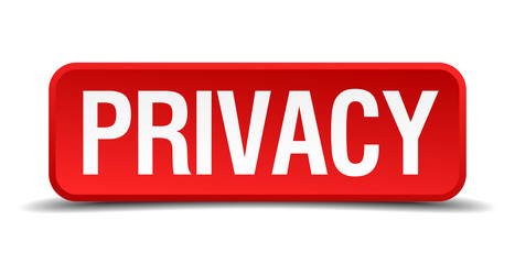 Privacy red 3d square button isolated on white