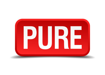 Pure red 3d square button isolated on white