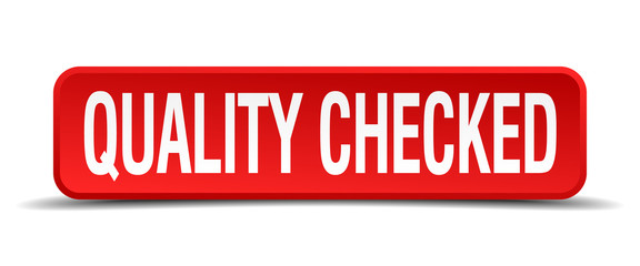 quality checked red 3d square button isolated on white