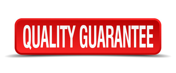 quality guarantee red 3d square button isolated on white