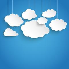 White Paper Clouds Blue Sky