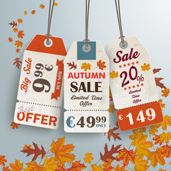 3 Vintage Price Sticker Silver Background Autumn Sale