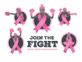 Breast cancer awareness vector with fighting girls
