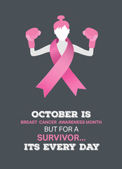 Breast cancer awareness vector with fighting girl