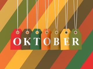 Oktober-Tag auf farbige Hängeetiketten . Herbstfarben