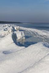Winter landscape at Baltic sea.