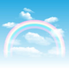 Rainbow, sky and clouds