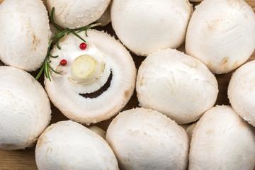 white mushrooms and mushroom smiling
