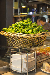 Padron peppers basket and tapas - Mercado de San Miguel, Madrid