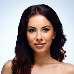 Portrait of attractive woman with fresh skin. Spa concept