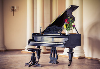 Vintage piano in the old manor