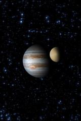 Jupiter with it's satellite.