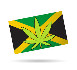 Jamaica flag with a hemp leaf
