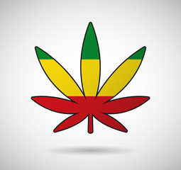 Cannabis leaf with the rasta flag