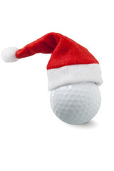 Golf ball with santa hat