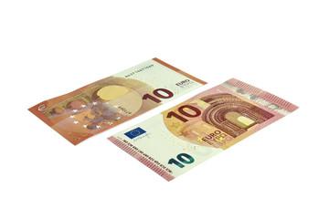 10 Euro Banknote 2014, vorne und hinten