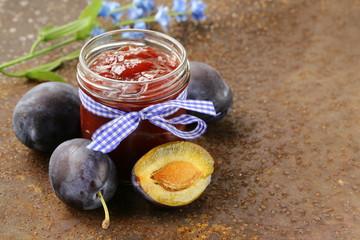 natural organic plum jam with fresh berries